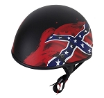 DOT Flat Black Rebel Flag Motorcycle Helmet