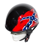 DOT Gloss Black Rebel Flag Motorcycle Helmet