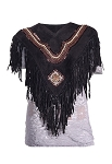 Womens Diamond Poncho with Fringes