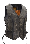 Womens Long Cut Distressed Brown Leather Vest