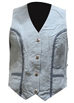 Womens Blue Denim Style Leather Vest With Side Laces