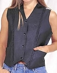 Womens Leather Motorcycle Vest With Braid