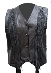 Womens Fringed Braided Leather Vest with Lining