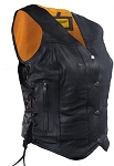 Womens Concealed Carry Leather Motorcycle Vest