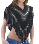Womens Fringed Stylish Poncho With Beads