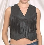 Womens Braided Leather Vest with Fringe
