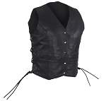 Womens Classic Leather Vest with Gun Pockets