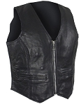 Ladies Leather Vest with Braid on Front and Back