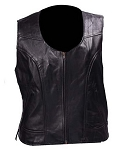 Women's Zipper Leather Vest with Side Laces