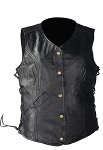 Womens Leather Vest With Gun Pockets & Clip Strap