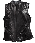 Womens Zipper Leather Motorcycle Vest with Gun Pocket