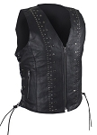 Womens Leather Motorcycle Vest With Studs