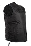 Mens Textile Vest Leather Trim Gun Pocket