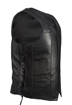 Mens Gun Pocket Leather Vest With Braid