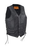 Mens Braid Leather Vest with Gun Pockets