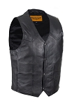 Mens Leather Motorcycle Vest with Gun Pocket
