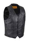 Mens Black Leather Motorcycle Vest with Gun Pocket
