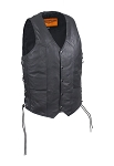 Mens Conceal Carry Leather Vest With Pockets