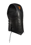 Mens Plain Leather Vest With Side Laces & Gun Pocket