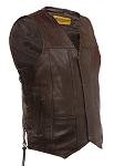 Mens Side Lace Brown Leather Vest with Gun Pockets