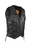 Mens Plain Leather Vest with Zipper Front