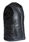 Mens Leather Vest With Velcro Side Straps