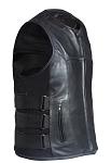 Mens Leather Biker Vest with Side Straps