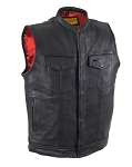 Mens Leather Vest with Front Pockets & Gun Pocket