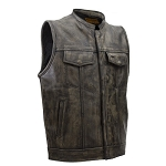 Mens SOA Distressed Brown Leather Biker Vest