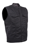 Men's Black Denim Motorcycle Vest
