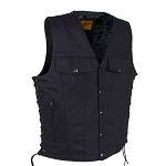 Men's Black Denim Motorcycle Club Vest