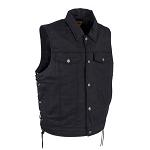 Mens Plain Denim Vest With Multiple Pockets