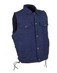 Men's Blue Denim Concealed Carry Vest