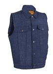 Men's Dark Blue Denim Gun Pocket Club Vest