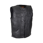 Mens Leather Motorcycle Club Vest With Zipper