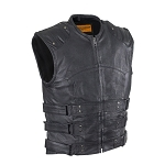 Mens Leather Replica Swat Vest With Gun Pocket