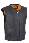 Men's Speedster Leather Motorcycle Vest with Gun Pocket