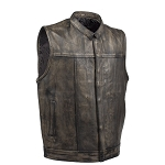 Mens Distressed Brown Leather Motorcycle Club Vest