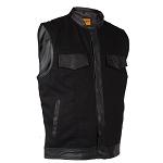 Mens Black Denim Biker Vest With Leather Trim