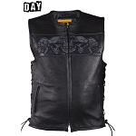Mens Leather Biker Vest With Reflective Skulls