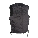 Mens Textile Vest with Reflective Skulls