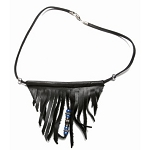 Womens Fringed Leather Necklace