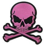 Small Dark Pink Skull and Crossbones Patch