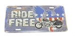 Ride Free License Plate with Motorcycle