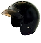 DOT Black 3/4 Open Face Motorcycle Helmet with Visor