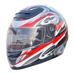 DOT Red Graphic Full Face Motorcycle Helmet