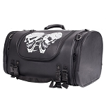 Motorcycle Sissy Bar Trunk Bag With Reflective Skulls