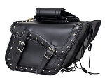 Studded Motorcycle Saddlebags with Chrome Plate