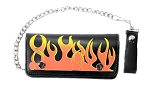Leather Chain Wallet With Flames