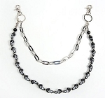 Biker Necklace Chrome Chain Black Skulls